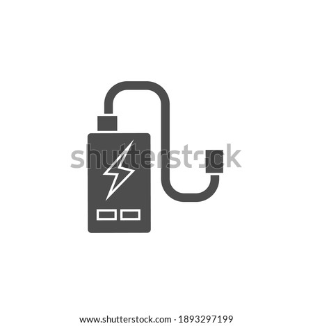 power cell storage battery or portable charger black solid icon vector illustration Photo stock ©