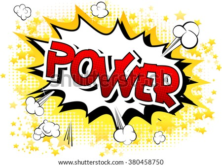 power   comic book style word