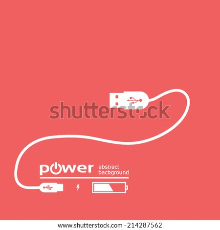 power concept background design, USB white cable , isolated on a red background, vector illustration