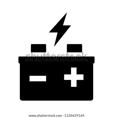 power Concept. vector automotive battery - electrical power symbol