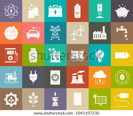 power Energy icons, vector electricity symbols, green ecology signs, oil and gas industry