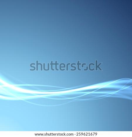 Power energy speed futuristic swoosh wave background - fiber optics broadband bandwidth channel blue layout. Vector illustration