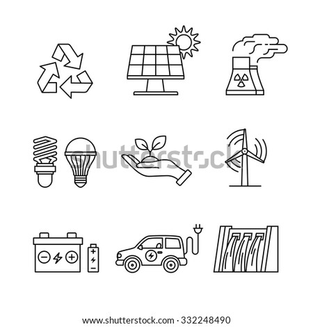 Power generation and ecologic energy thin line art icons set. Modern black symbols isolated on white for infographics or web use.
