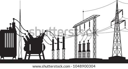 Power grid substation - vector illustration