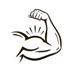 Power hand, muscular arm, bicep. Gym, wrestling, powerlifting, bodybuilding, champion, sport symbol. Vector illustration