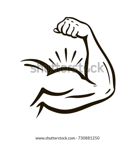Power hand, muscular arm, bicep. Gym, wrestling, powerlifting, bodybuilding, champion, sport symbol. Vector illustration