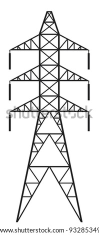 Power Line And Electric Pylon Stock Vector Illustration 93285349 ...