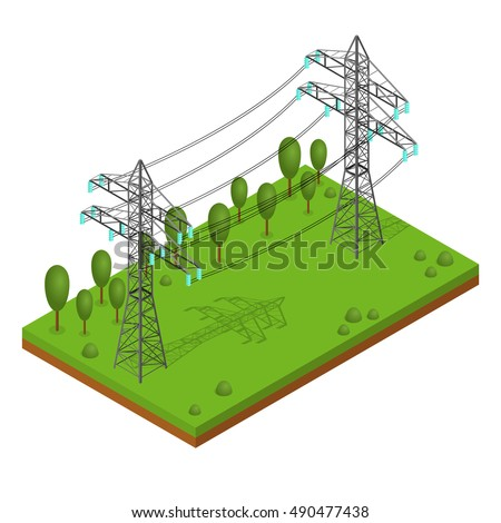 power lines pylons landscape