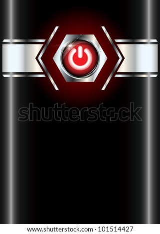 Power on red glossy vector button on metallic black template with copyspace and dark red effect