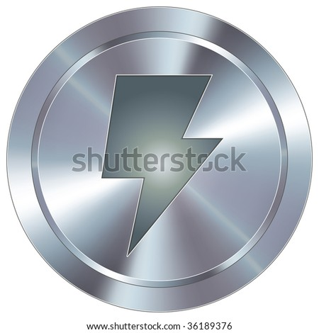Power or lightning bolt icon on round stainless steel modern industrial button