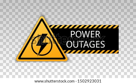 Power outage. Symbol without electricity. Triangular yellow and black icon of electricity.