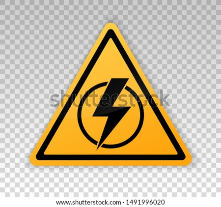 Power outage. Symbol without electricity. Triangular yellow and black icon of electricity. Warning logo. Caution. Electricity lights out. Vector concept without electricity. Lightning. High voltage