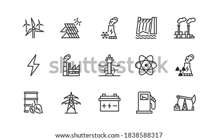 Power plant flat line icons set. Energy generation station. Vector illustration alternative renewable energy sources included solar, wind, hydro, tidal, geothermal and biomass Editable strokes