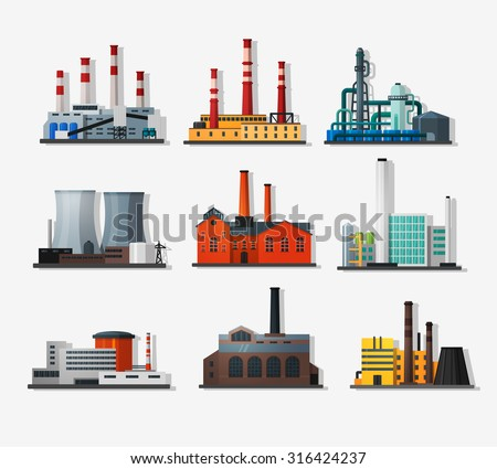 power plant icons in flat style