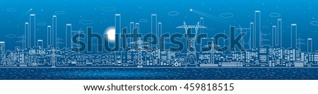 Power plant on the water, electricity lines, energy and industrial panoramic, infrastructure, vector design art stock photo