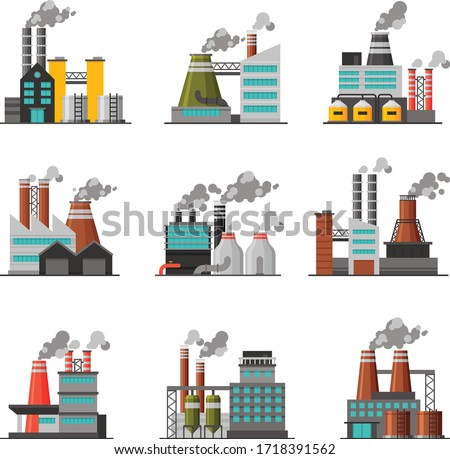 Power Plants Collection, Industrial Chemical or Refinery Factory Buildings with Smoking Chimneys Flat Vector Illustration