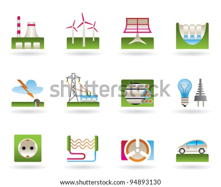 Power plants, electricity grids and electricity consumers - vector illustration
