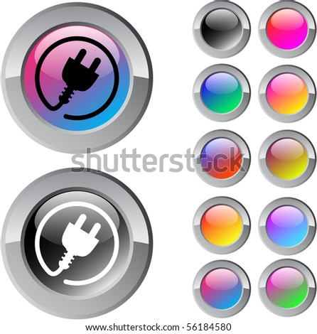 Power plug multicolor glossy round web buttons. - stock vector
