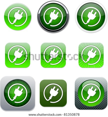 Power plug Set of apps icons. Vector illustration.