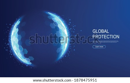 Power protective energy dome, shield on blue background. Inviolable field, protection and safety concept.