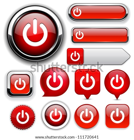 Power red design elements for website or app Vector eps10