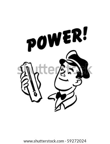 Power - Service Station Mechanic - Retro Clip Art