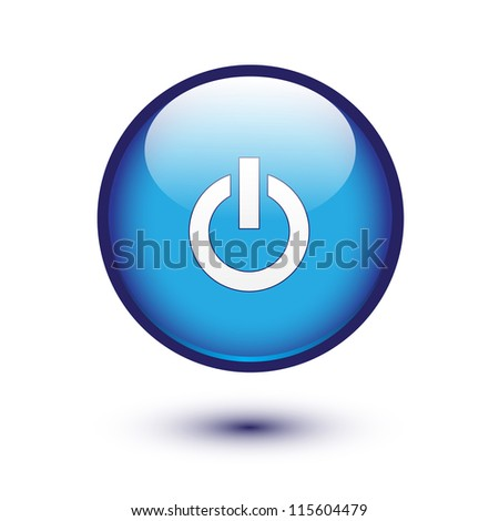 Power sign on blue glossy button