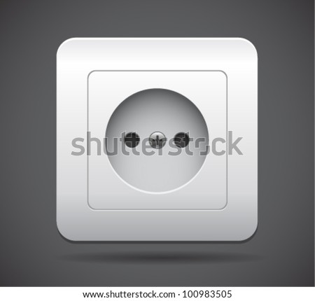 Power Socket Icon. Realistic vector illustration