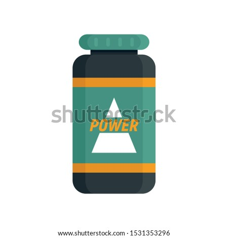 Power sport nutrition icon. Flat illustration of power sport nutrition vector icon for web design
