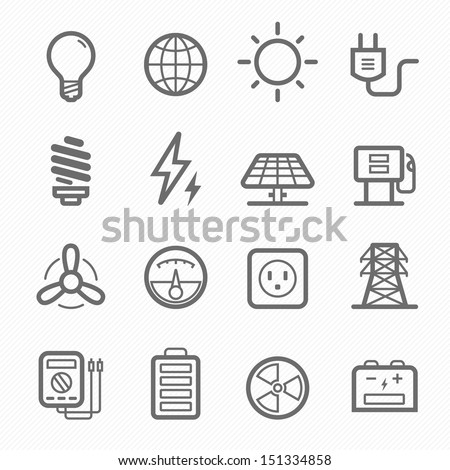 Power symbol line icon on white background vector illustration