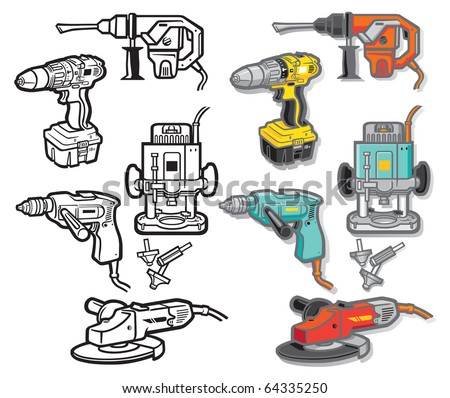 Power Tool Icons-one - stock vector