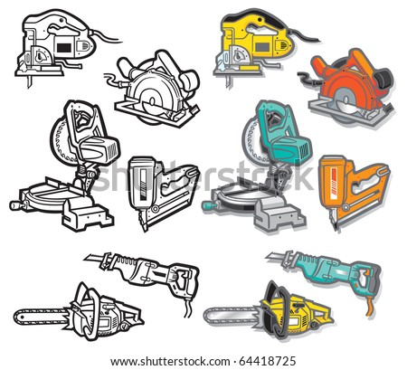 Power Tool icons-two - stock vector
