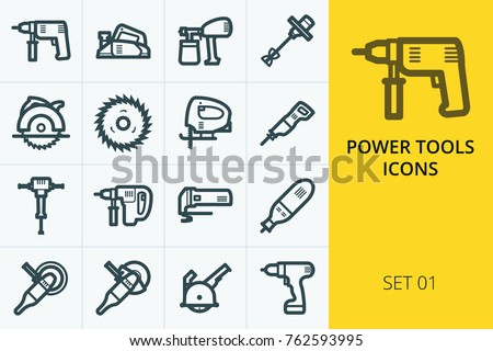 Power tools icons set. Collection of electric drill, planer, saw, grinder