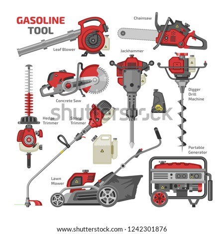 Power tools vector electric construction equipment circular-saw and gardening lawn mower trimmer leaf-blower illustration machinery set of jackhammer drill machine isolated on white background