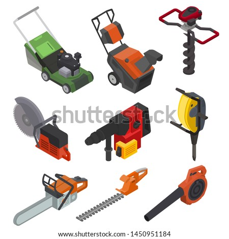 Power tools vector electric construction equipment circular-saw lawn mower power-planer illustration isometric set of electric jig-saw grass-cutter isolated on white background