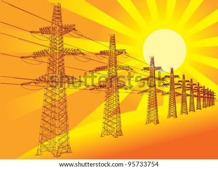 Power Transmission Line against the setting sun, vector illustration