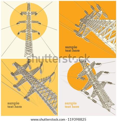 Power Transmission Line, vector illustration, set