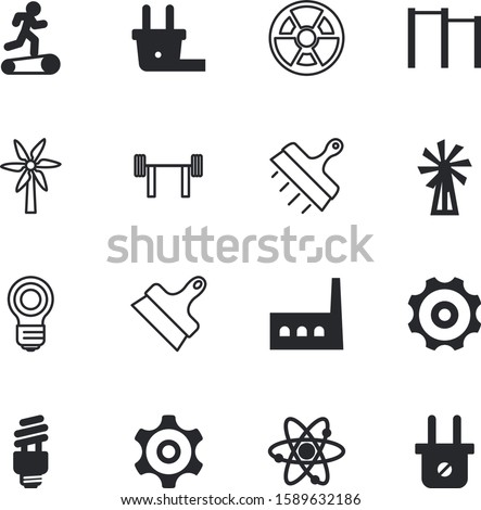 power vector icon set such as: efficiency, structure, led, physical, chemistry, city, horizontal, bar, drawing, nuke, weights, park, uranium, proton, gymnasium, communication, halogen, glowing