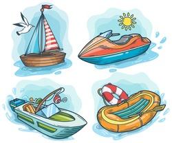 Powerboat, sailboat, water bike, inflatable boat hand drawn engraving sketch vector set. summer voyage cruise transportation illustration. Retro vintage marine transport. Boat symbol on white