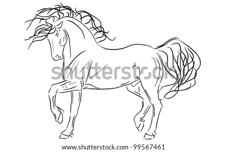 Powerful Artistic Friesian Stallion Vector Illustration