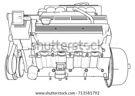 Piston Car Engine Drawing Vector - Download Free Vector Art, Stock ...