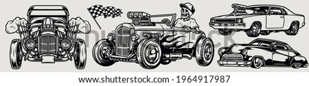 Powerful classic custom cars composition in vintage monochrome style with racing checkered flag hot rod retro and muscle automobiles skeleton driver isolated vector illustration