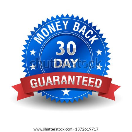 Powerful 30 day money back guarantee badge with blue badge and red ribbon.