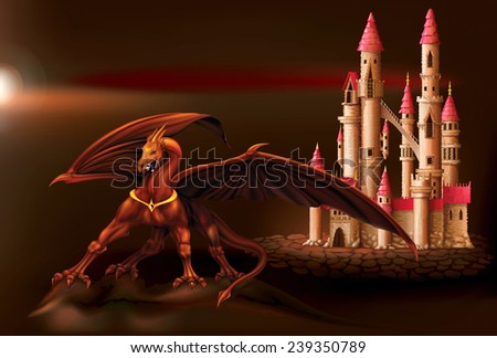 powerful dragon in front of the