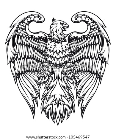 Powerful eagle or griffin in heraldic style. Jpeg version also available in gallery
