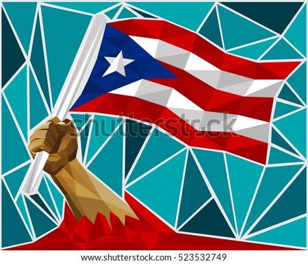 powerful hand raising the flag