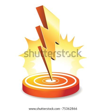 Powerful lightning bolt targeting - stock vector