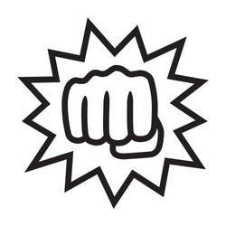 Powerful punch with impact or knockout line art vector icon for fighting apps and websites