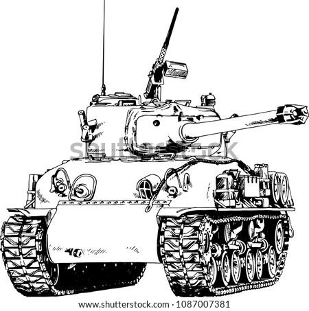 powerful tank with a gun drawn