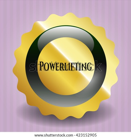 Powerlifting golden emblem or badge